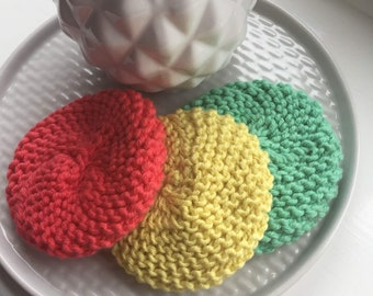 Reusable Dish Washing Pads, Knitted Cotton Scrubbies, Eco Friendly Cleaning Sponge