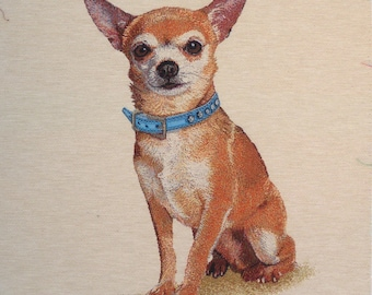 Coupon fabric Panel tapestry CHIHUAHUA Necklace blue