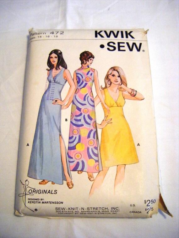 Vintage 1970s dress pattern Kwik Sew 472 maxi dress pattern floor ...