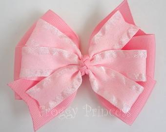 Pretty in Pink Bow - Pinwheel Style - No Slip Velvet Grip Hair Clip