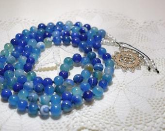Free Shipping! Blue banded Agate Mala, The Mala of Life, Yoga Necklace, Yoga Mala. Meditation Mala. Chakra Mala, Handmade. 108 Mala