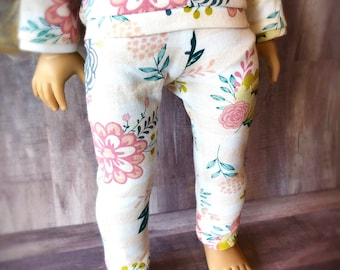 18 Inch Doll Leggings - Peach and White Striped Floral - Knit