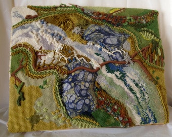 Green River Needlepoint Mixed Media Art  OOAK Wall Hanging 10x12