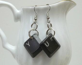 upcycled computer key earrings,dark grey computer keys earrings,Y/U computer key earrings,eco friendly earrings, geek gift