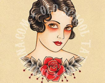 Vintage woman tattoo. Flash tattoo. Old school tattoo. Art tattoo. Digital Print, Instant Download. Printable Illustration.