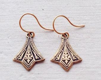 Dangle Earrings/Small Gold Earrings/Boho Earrings/Gold Earrings/Art Deco Earrings/Dainty Earrings/Boho Chic/Small Earrings/Petite Earrings