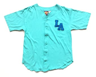 90s Retro LA Gear baseball jersey button up base ball jersey size Large Turquoise