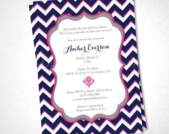 Chevron Stripes Baby Shower Invitation - Navy Pink - DIY Printable