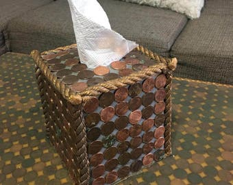 napkin holder,hand made out of pennies,coints
