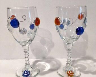 Beaded Wine Glass, Wire Wrapped Wine Glass, Custom Wine Glass, Wine Charm, Stemware, Mom Gift, Wedding Gift, Sports, Water Glass