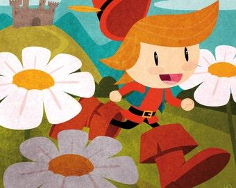 Tales - Tom Thumb print children kids illustration room decoration