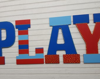 The Word PLAY - PLAY Sign - Large Wall Initials - 13.5 Inch - Kids Playroom Decor - Kids Room Decor - Family Wall Decor