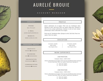Stylish Resume Templates for MS Word and by BotanicaPaperieShop