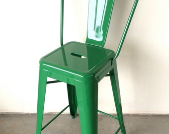"""Custom Tolix Style High Back Chair Counter Stool in 26"""" Height:  Painted in the Color of Your Choice"""