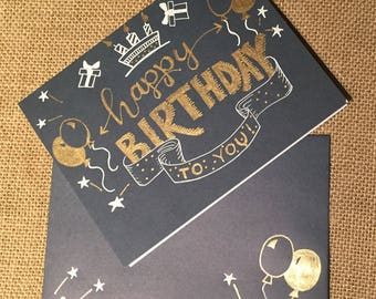Navy and gold birthday card set with embellished envelope