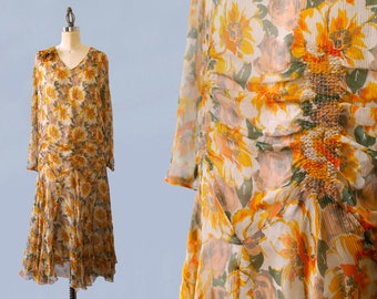1920s Dress / 20s Sunny Chiffon Floral Dress