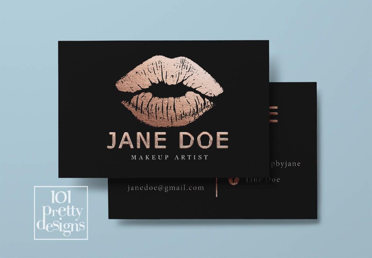 Lipsense business card rose gold foil printable business card