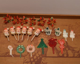 Lot of Twenty-Two Christmas Cake/Cupcake Decorations