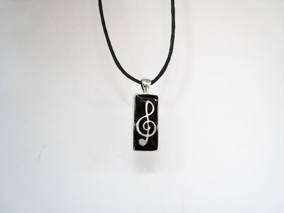 Treble clef necklace, music necklace, guitarist pendant, music note charm, black unisex mens jewelry, musician jewelry, music teacher gift