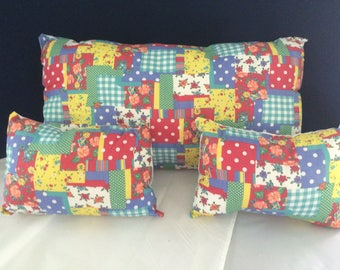 3 Decorative Pillows   Multi Color Patchwork - White Other Side  Handmade