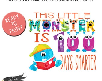 Little Monster 100 days Boy- INSTANT DOWNLOAD - PDF Printable