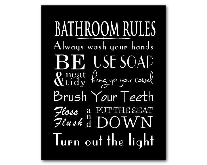 Brush Your Teeth Quotes: Bathroom Wall Art Word Art Print Bathroom Rules