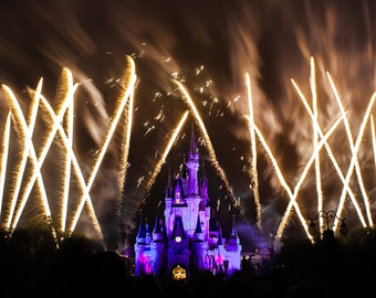 Disney Canvas or Print - Custom Quotes - Wishes Night Time Spectacular World Magic Kingdom - Cinderella's Castle Fireworks - Art Photography