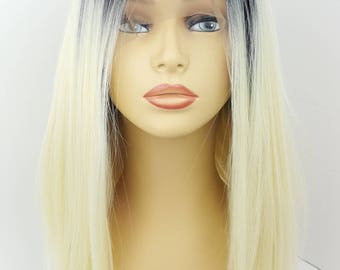 Black and White Blonde Lace Front Wig, Blonde A line Wig, A line Lace Front Wig, Lace Front Wig, Bleach Blonde A line Lace Front Wig, Wigs