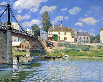 "Laminated placemat Sisley ""Bridge of Villeneuve La Garenne"""
