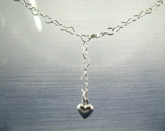 Sterling Silver Heart Link Belly Chain with Heart Charm 42 inch