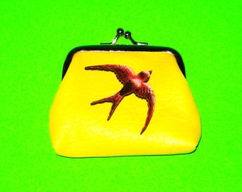 Swallow Bird Bold Yellow Leather Luxe Kisslock Coin Purse