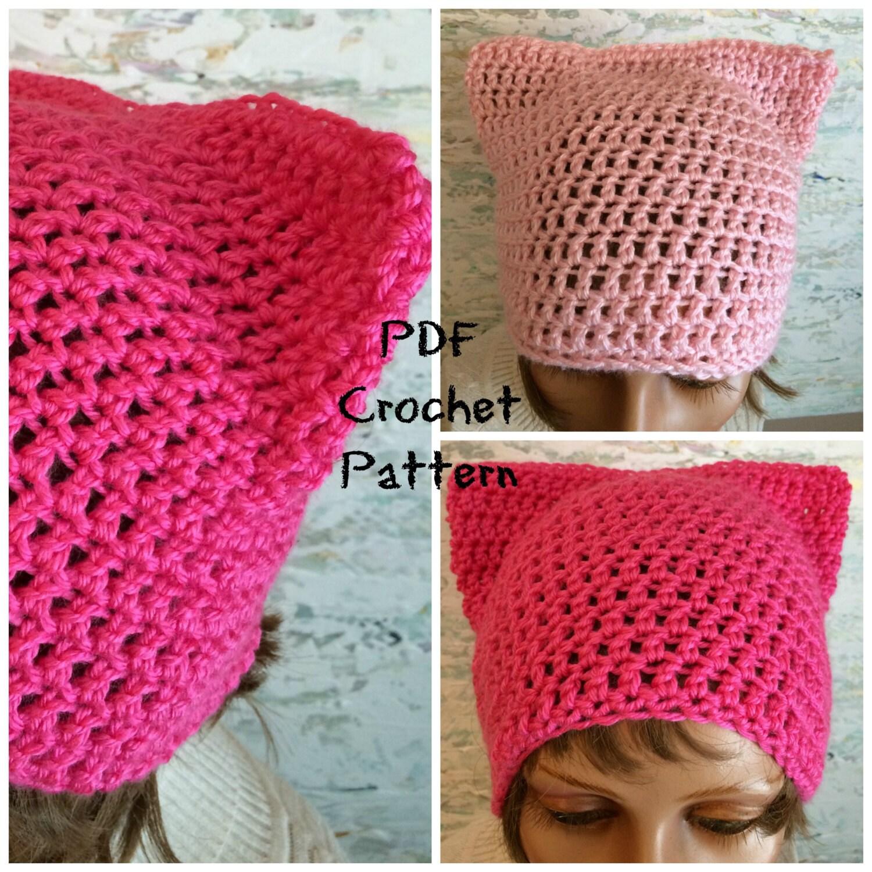 Pussy cat hat crochet pattern pussy hat pattern pdf download zoom dt1010fo