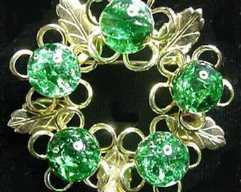 Beautiful Glass Beaded Wreath Brooch