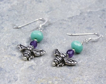 Antique Silver Honey Bee Turquoise Violet Purple Earrings