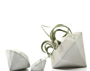Concrete Diamond Air Plant Vase and Sculpture Gift Set, cement diamond Air Plant Vase, minimalist decor, geometric concrete, gift idea
