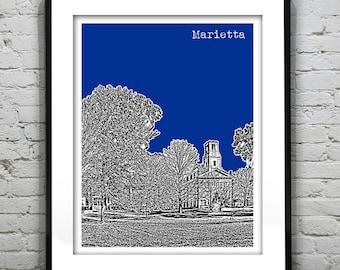 Marietta Ohio Skyline Poster Art Print Marietta College Version 1 OH