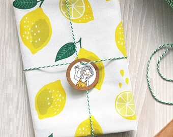 Lemons Kitchen Tea towel fruit white, drill cotton / theedoek - design by Heleen van den Thillart