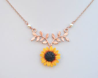 Red Yellow Sunflower and Leaf Branch  Necklace. Leaf Branch and Flower Drop Necklace. Twig and Sunflower Necklace. ATHENA