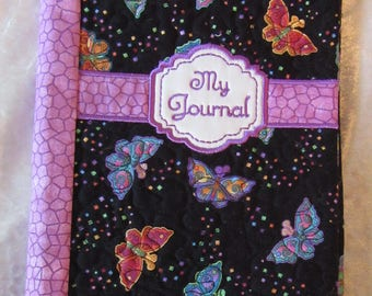"Handmade - Butterfly Design-Cloth Cover-Journal -A5 -6x8""-Journal Size"