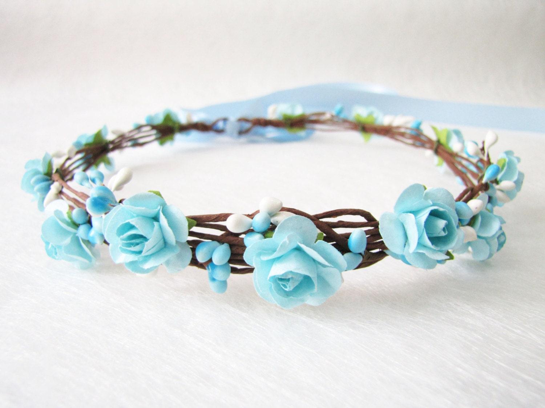 Wedding floral crown aqua blue flower headband floral head zoom izmirmasajfo Gallery