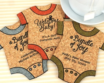 Baby Shower Favor Coasters, Personalized Baby Onesie Shaped Cork Coasters, Baby Shower Cork Coaster Favors - Set of 12
