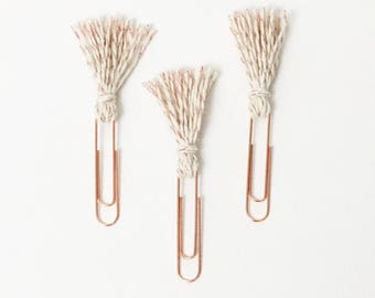 Rose Gold Tassel Clip Set - Rose Gold, Cream - Planner Accessories - Rose Gold Collection