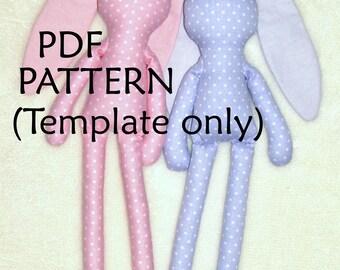 PDF Pattern. Bunny Sewing Pattern.  Polka dots Bunny Pattern. Soft toy Pattern. Cloth toy Pattern. Plush toy Pattern. Sewing Template PDF.