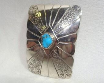 Price REDUCED // Handmade Sterling NAVAJO Bolo Slide w/ KINGMAN Turquoise