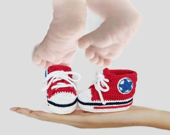 Red baby shoes, Girls shoes, Boys shoes, Baby shower gift, Crochet baby shoes, Red crib shoes, Red shoes, Baby girl, Baby  boy