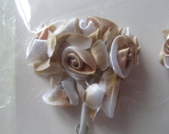 set of 2 bunches of 7 flowers each on metal rod - light brown and cream satin is 14 flowers