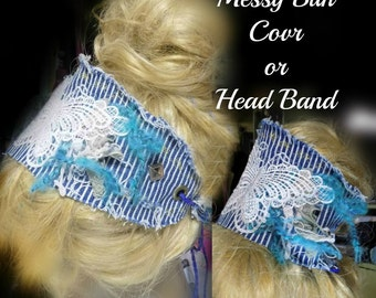 Women's headband , Boho head wrap , Bohemian head piece , messy mom bun , ponytail cover ,hair accessories ,  # 135