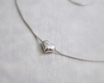 Tiny Sterling Silver Heart Necklace, Bridesmaid Necklace, Personalized Bridesmaid Gift, Flower Girl Necklace, Flower Girl Gift, Gift for Her