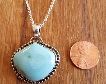 Blue Gem Mine turquoise and sterling silver pendant