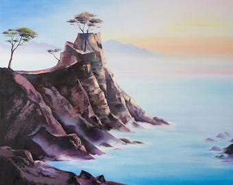Original large oil painting seascape with mountains. Blue ocean. Landscape